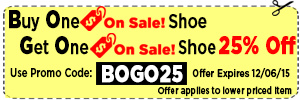 BOGO 25 - Buy One OnSale Shoe Get One 25% Off